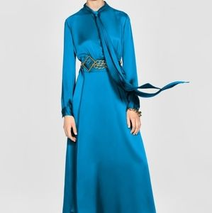 Zara limited edition blue dress with tie detail